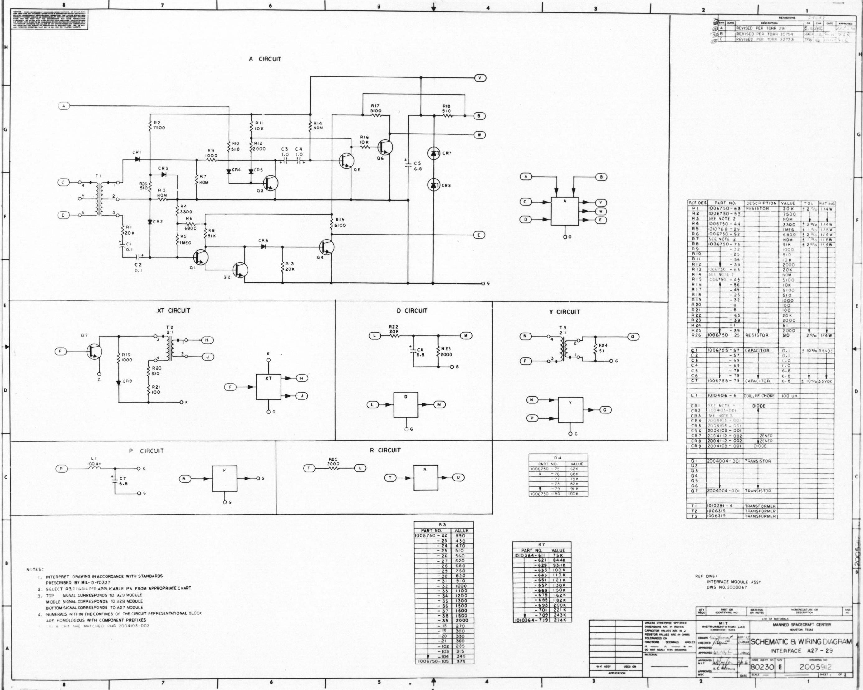 Apollo Guidance Computer Agc Schematics Main Circuit Drawing No