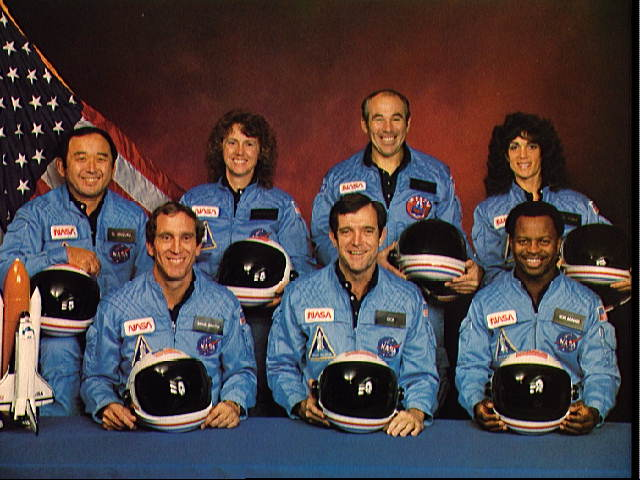 Crew of the Challenger on STS-51L: Francis R. Scobee, Michael J. Smith, Judith A. Resnik, Ellison S. Onizuka, Ronald E. McNair, Gregory B. Jarvis, Sharon Christa McAuliffe